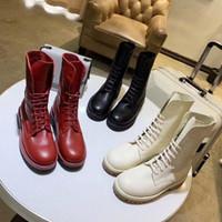 botas altas negras para niñas al por mayor-Botines casual mujer diseñador botas de moto zapatos de invierno de cuero genuino de alta calidad para niñas botas de moto marrón negro tacón plano