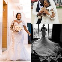 Wholesale wedding dress chapel length tulle train for sale - Group buy Plus Size Luxury Mermaid Wedding Dresses Lace Crystal African Arabic Long Sleeve D Floral Chapel Train Castle Wedding Gown