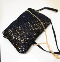 carteira de glitter preto venda por atacado-Mulheres Senhoras Glitter Lantejoulas Bolsa Espumante Evening Envelope Embreagem Saco Da Carteira Bolsa Tote Ouro Preto Prata