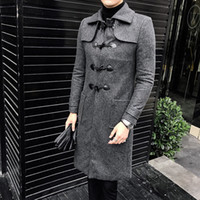 ingrosso uomini del tromba del cappotto-Vintage Horn Button Trench Coat Dress Uomini commerciali a lunga Herren Mantel Lang Coreano Per 3XL Uomini Manteau Hiver Homme slim fit
