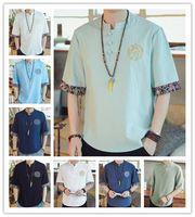 çince tarzı aydınlatma toptan satış-T Gömlek 2019 Erkekler Yaz Moda Yüksek Kalite Gri Beyaz Işık Yeşil Keten Kısa Kollu Boş Çin Tarzı Kolay eğlence T-Shirt