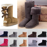 botas de lana de mujer al por mayor-Australia 2020 Les novedades nieve del invierno mujeres de las botas de cuero clásico sin la caja alta de la muchacha arquean los zapatos sz5-10 lanas el precio barato de arranque