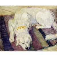 abstrakte gemälde porträts großhandel-Gemälde von Franz Marc Liegender Hund (Hundeportrait) Leinwand moderne Kunst abstrakte handgemalte Wohnkultur