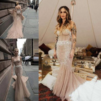 vestido de novia sin tirantes blush al por mayor-Sexy Champagne blush Lace Beach Wedding Dress 2019 Inbal Dror Vintage Bohemia Vestido De Noiva Backless Strapless Mermaid Wedding Gowns