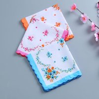 Wholesale 30 cm Cotton Handkerchief Cutter Ladies Handkerchief Craft Vintage Hanky Floral Wedding Handkerchief LX5672