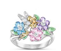 ring melekler kanat toptan satış-Yeni Zarif WomeElf Melek Kanatları Damla Jel Oyun Halkası Renkli Avrupa ve Amerikan Lüks Parti Düğün Parmak Yüzük Kadın Takı