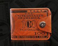 Wholesale sim card wallets resale online - US Dollar Style Buckles PU Bifold Wallet Travel Cash Hasp Case Black Brown Sewing Look SIM Card Mens Vintage