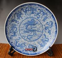 weiße keramische verzierung großhandel-Antike alte Jingdezhen Keramik Longxiao neun Tage Kowloon blaue und weiße Platte Handwerk Ornamente