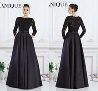 janique vestidos al por mayor-2019 Janique negro mangas largas elegantes vestidos formales una línea de encaje con cuentas madre de los vestidos de la novia por encargo de las mujeres desgaste de la tarde