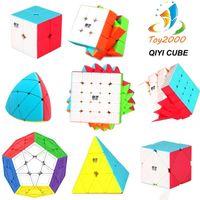 kohlefaserwürfel großhandel-QIYI Geschwindigkeit puzzle Cube 2x2 3x3 4x4 magic rubik cube Kohlefaser Aufkleber Magic Cube Puzzle Spielzeug Intelligenz Entwicklung Kinder spielzeug
