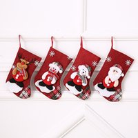Wholesale family christmas ornament resale online - Hot Sale and New Fashion Christmas Candy Presents Bag Ornaments Props Santa Snowman Socks Medium Size Party Family