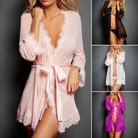 vestido de peito aberto sexy venda por atacado-Novos vestidos de lingerie sexy solid manette papéis cuecas sensuais ternos de manga longa bandage dress cintas de peito aberto 7 cores atacado
