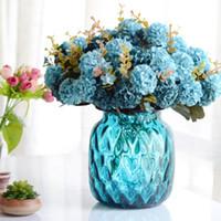 buket çiçeği topu yapay toptan satış-Krizantem Topu Yapay Çiçek Ev Ekran Sahte Çiçek Buketi Ev Dekor için Simülasyon Bitkiler 10 Kafaları / buket