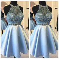kısa saten junior dress toptan satış-Jewel Boncuk Sequins A-Line Mezuniyet Elbiseleri 2019 Saten Kısa Boncuk Özelleştirilmiş Vestidos De Özel Durum Parti Törenlerinde Genç
