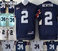 ingrosso punto di jersey di calcio-T-shirt da uomo giovanili # 2 Cam Newton 34 Bo Jackson Bambini blu navy bianco con manica arancione NCAA College Football Stitched Jersey