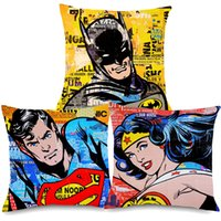 Wholesale pop art pillows cases for sale - Group buy American Vintage POP Art SUPER HERO Cushion Covers Super man Bedroom Sofa Linen Pillow Case X45cm