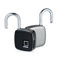 cerradura antirrobo puerta al por mayor-Z1 USB recargable inteligente sin llave de bloqueo de huellas dactilares IP65 a prueba de agua antirrobo candado de seguridad puerta de equipaje maleta de bloqueo
