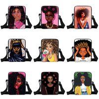 Wholesale kids messenger backpack for sale - Group buy Afro Girls One Shoulder Backpacks Design Cartoon Character Crown Girl Multi Function Square Bags Kids Design Messenger Bag