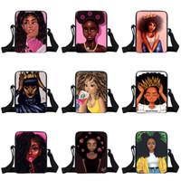 um saco de ombro para as meninas venda por atacado-Meninas afro mochilas de um ombro 35 design personagem de banda desenhada coroa menina multi-função sacos quadrados crianças design messenger bag 04