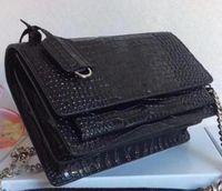 hakiki deri çapraz vücut çanta toptan satış-Gerçek deri çanta kadın yeni tasarımcı aziz Timsah Desen Dana Gümüş zincir Hakiki Deri Lüks crossbody omuz çantası