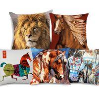 ingrosso pittura a olio eseguire cavalli-Acquerello Animal Running Horse Lion Cushion Covers 5 Styles Pittura a olio Copre cuscino di lino beige 45X45cm Sofa Chair Decoration