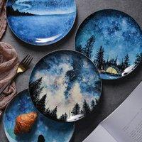 china cake plate venda por atacado-8inch Estrelas Bone china pequeno-almoço placa prato presente Louça Decoração Handmade placa cerâmica bolo de pastelaria Bolo de Frutas T191108 placa