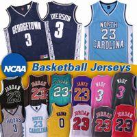 north carolina jersey 23 de basquete venda por atacado-NCAA Dwyane 3 Wade Jersey North Carolina Saltos de Tar Michael 23 Iverson James Hoyas 0 Kuzma Georgetown Camisas de Basquete