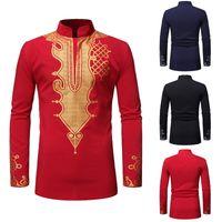 tops longos tradicionais venda por atacado-NIBESSER homens estilo africano impressão camisa tradicional Dashiki manga longa camisa dos homens primavera Casual Tops Chemise Homme