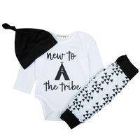 bebek üçlü takım elbise toptan satış-Bebek Mektup Baskı Elbise Bebek Giyim Bebek Çocuk Giysi Tasarımcısı Uzun Kollu Elbise Pantolon Şapka Üç Parçalı Pantolon Suit 19