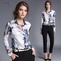ingrosso le camicette delle signore-Maniche lunghe camicetta di arrivo nuovo ente sottile femminile Stampato Tutti termini Fashion Blouse Office Lady Blouse 706F