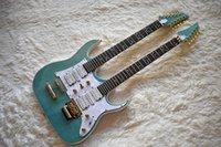 guitarra elétrica inlay da árvore venda por atacado-Fábrica Personalizada Dupla Pescoço Verde Guitarra Elétrica com 6 + 12 Cordas, a Árvore da Vida Infrared Guarnição, Branco Pérola Pickguard, pode ser Personalizado