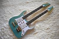 doble cuello 12 cuerdas guitarra al por mayor-Guitarra eléctrica verde de doble cuello personalizada de fábrica con 6 + 12 cuerdas, el árbol de la vida Fret Inlay, White Pearl Pickguard, se puede personalizar