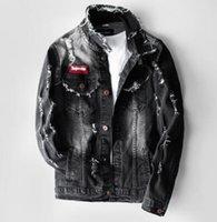 nueva chaqueta de los hombres coreanos al por mayor-2019 primavera nueva chaqueta de mezclilla versión coreana masculina de la autocultivo popular chaqueta masculina de color a juego agujero chaqueta de mezclilla