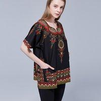 ethnische feste großhandel-Unisex Schwarz Ethnische Vintage-60er-70er Tribal African Dashiki Print Top Shirt Baumwolle Tribal Hippie Tunika Festival