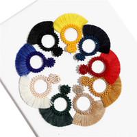 büyük renkli küpeler toptan satış-Trendy Etnik Bohemian Püskül Küpe Kadınlar Için El Yapımı Takı Renkli Büyük Çember Bildirimi Küpe Kız tasarımcı Için küpe bırak gemi