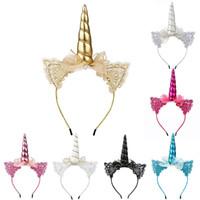 orejas de gato al por mayor-Baby Girls Unicorn Headband Lace Cat Ears Sticks para el cabello Niños Niños Bow Diademas Diadema de fiesta de cumpleaños de Halloween HHA668