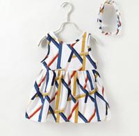 платье без рукавов с геометрическим рисунком оптовых-Девушки платья INS Детская одежда европейских и американских летних девочек геометрические полосы печати жилет платье (с оголовьем)