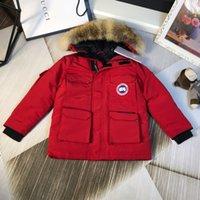 kışlık ceketler unisex parkas toptan satış-Çocuk Kış Ceketler 2018 Sonbahar Kış Çocuk Kız Erkek Aşağı Parkas Kürk Kapşonlu Dış Giyim Noel Giyim için 0818