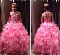 uzun elbise boyutu 12 çocuk toptan satış-Gençler için Artı boyutu Kız Pageant Elbise Pembe Güzel Katmanlar Organze Etek Backless Dantelli Uzun Çocuklar Örgün törenlerinde Parti Ünlü Giydirme