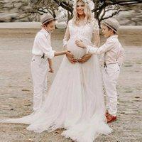 Wholesale line wedding dresses for pregnant women for sale - Group buy Romantic A Line Tulle Country Wedding Dresses For Pregnant Women Boho V Neck Appliqued Lace Long Sleeve Bridal Gown Plus Size AL6109