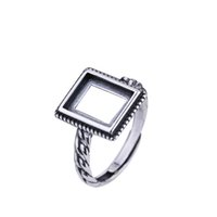 Wholesale vintage sterling silver ring mountings for sale - Group buy 925 Sterling Silver Men Engagement Wedding Ring X10mm Princess Cabochon Semi Mount Ring Setting Art Deco Vintage