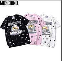 urso kawaii venda por atacado-2019 kawaii marca de moda feminina T-shirt dos desenhos animados urso monograma impresso algodão de manga curta T-shirt com preto, branco e rosa s-2 xl
