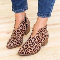 zipper back shoes venda por atacado-Mulheres Botas de Moda Tornozelo Rasa Sapatos de Volta Zíper Dedo Apontado Sapatos de Salto Médio Conforto das Mulheres Sapatos de Salto Quadrado Senhoras Tamanho Grande