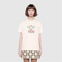 gündüz tee spor kadınları toptan satış-19SS Tenis Raket Nakış T-shirt Bej İtalya'da Yapılan T-Shirt Erkek Kadın Spor Kısa Kollu Yaz Sokak Rahat Tee HFLSTX470
