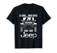 jeephemden großhandel-Ein Mädchen, ihr Hund und ihr Jeep Hund Pfote Jeep Cute Funny Black T-Shirt S-3XL Herren stolz dunklen T-Shirt