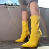 saltos de tecido amarelo venda por atacado-Moda Europa Mulheres Mid-calf Botas de Tecido Amarelo Azul Estiramento Apontou Toe Mulheres Botas Mujer Salto Fino Botas Com Zíper Respirável