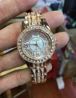 neue ankunfts-luxuxuhren frau großhandel-NEUE HEISSE Ankünfte Qualitäts-Luxusfrauen passen volle Diamant Dame Steel Chain Watches Luxury Quarzuhrfreizeit-Modedesigneruhr auf