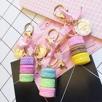 Wholesale macarons keychain resale online - Creative Macarons Cake Keychain LADUREE Effiel Tower Ribbon Key Chain Ring Women Handbag Bag Charm Fashion Trinket Wholeasle