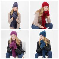 ingrosso guanti adatti-4 colori inverno all'aperto berretti caldi cappello sci sci berretto antivento cappello lavorato a maglia sciarpa touch screen guanti vestito a tre pezzi regalo ZZA913
