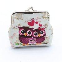 sevimli baykuş cüzdanları toptan satış-Sevimli Baykuş Desen Deri Sikke Çantalar Hasp Cüzdan Çocuk Kız Retro Vintage Deri Küçük Cüzdan Hasp Cüzdan Debriyaj Çanta